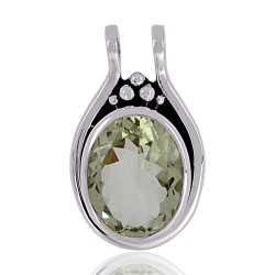 Green Amethyst Gemstone 925 Sterling Silver Pendant