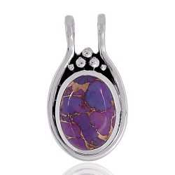 Purple Copper Turquoise Gemstone 925 Sterling Silver Pendant