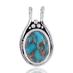 Sterling Silver Blue Copper Turquoise Pendant