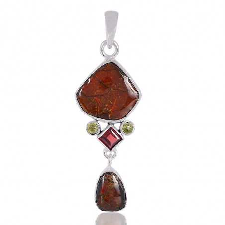 Ammolite Garnet And Peridot Gemstone 925 Sterling Silver Pendant