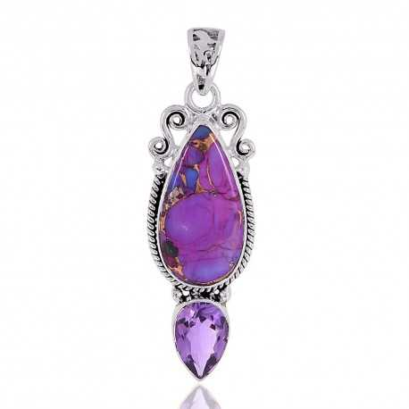 Purple Copper Turquoise Gemstone Silver Locket Pendant
