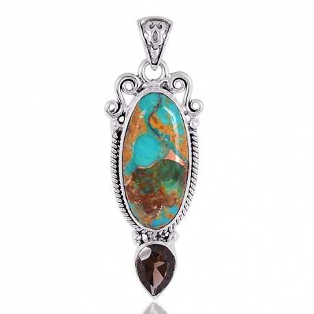 Boulder Turquoise Gemstone 925 Solid Silver Pendant