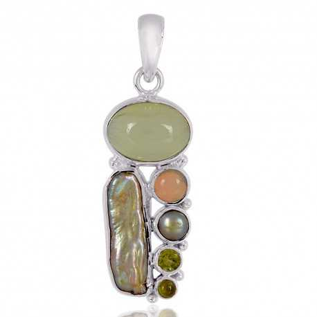 Ethiopian opal And Multigemstone Sterling Silver Locket Pendant