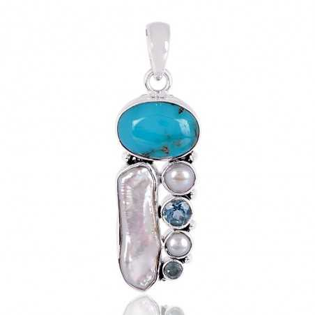 Arizona Turquoise And Multigemstone Silver Pendant