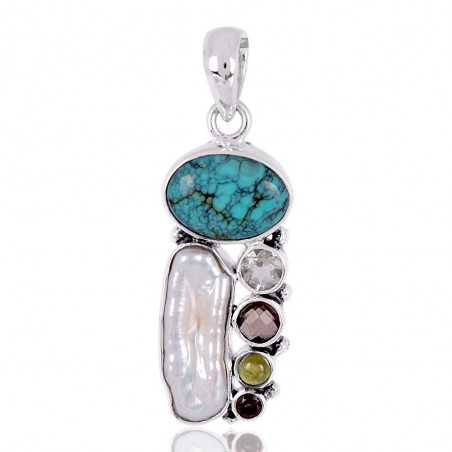 Idocrase And Multigemstone Solid Silver Pendant
