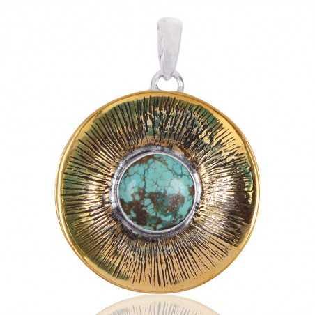 Tibetan Turquoise Gemstone Brass Pendant