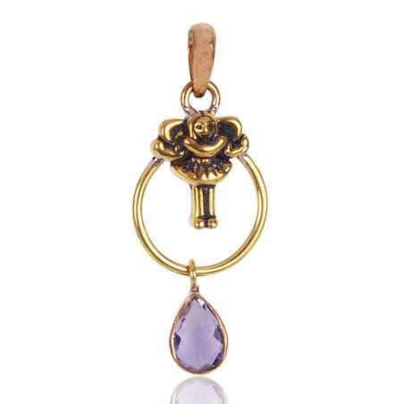 Amethyst Gemstone Brass Pendant