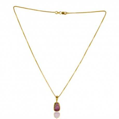 Gold Plated Tourmaline Gemstone Sterling Silver Pendant