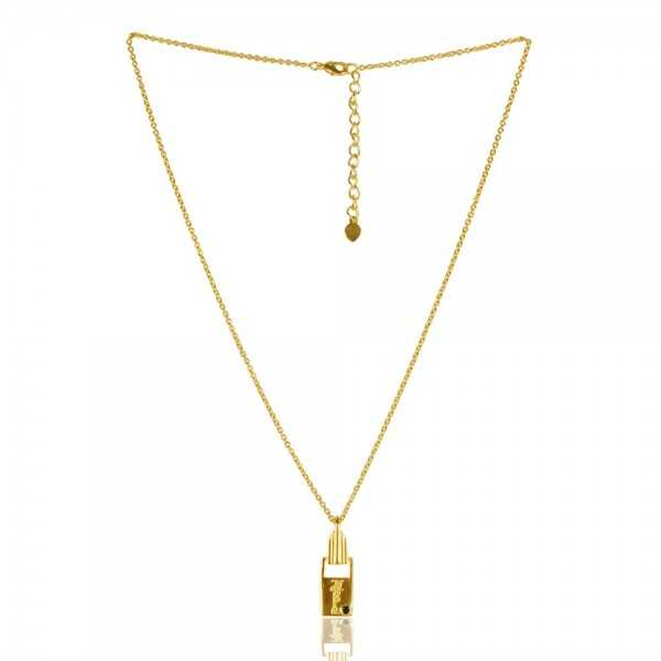 Natural Black Onyx Gemstone Brass Pendant