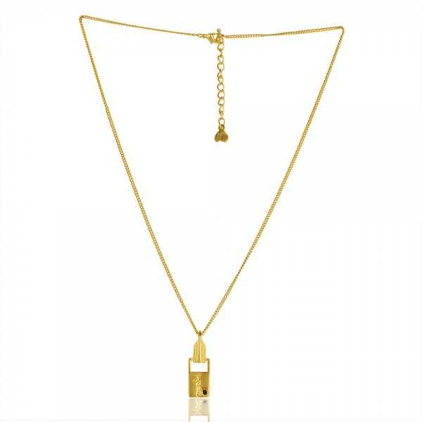 Natural Crystal Gemstone Brass Necklace Pendant