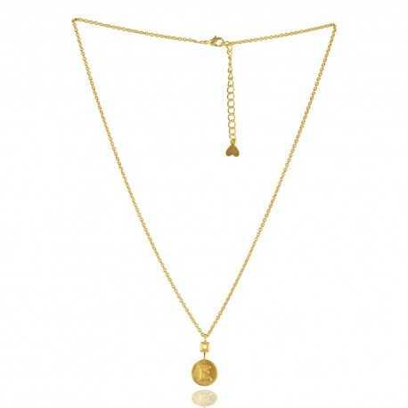 "Alphabet ""E"" Brass Necklace Pendant"