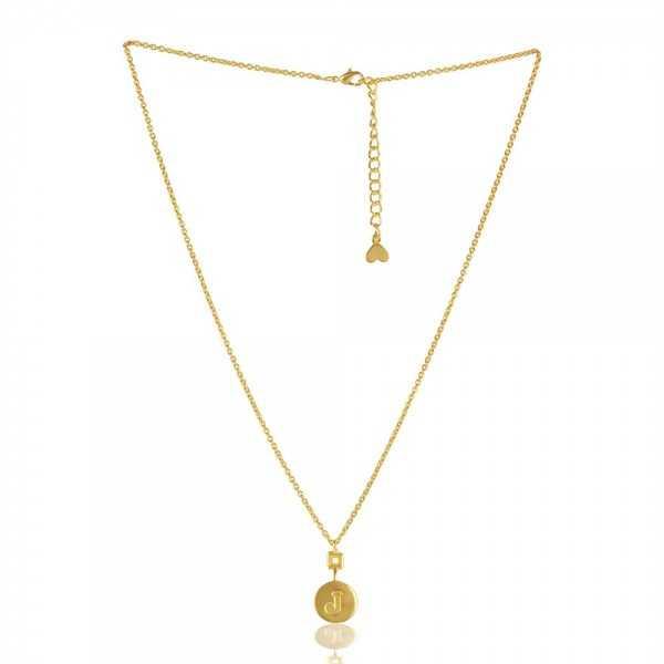 "Gold Plated Stylish ""J"" Alphabet Brass Pendant"
