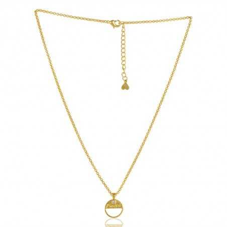 Crystal Gemstone Gold Plated Brass Necklace Pendant