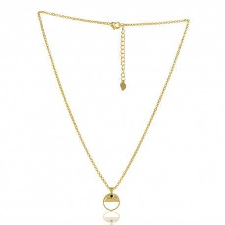 Black Onyx Gemstone Brass Necklace Pendant