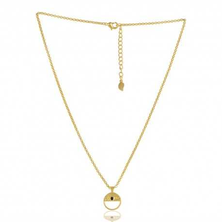 Black Onyx Gemstone Brass Necklace Hope Pendant