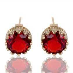 Orange Swarovski Glass Gold Plated Fashion Designer Stud Earring