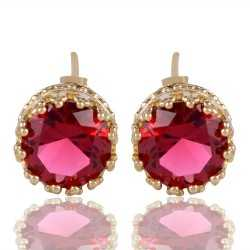 Red Swarovski Glass Gold Plated Fashion Designer Stud Earring