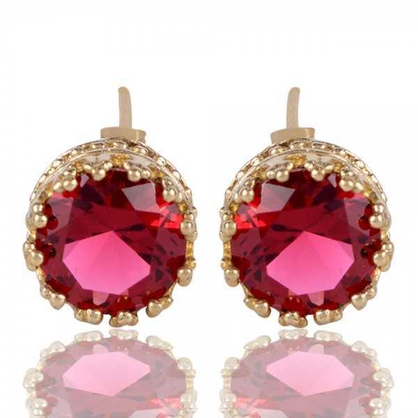 Red Swarovski Glass Gold Plated Fashion Designer Stud Earring