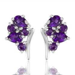 Silver Stud Amethyst Gemstone Earring