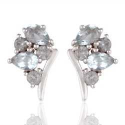 Blue Topaz Gemstone Silver 925 Stud Earring