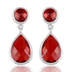Red Stone 925 Sterling Silver Earring