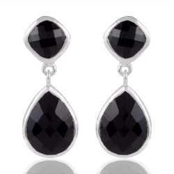 925 Sterling Silver Black stone Earring