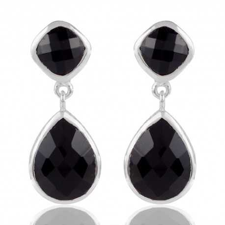 925 Sterling Silver Black stone Earring