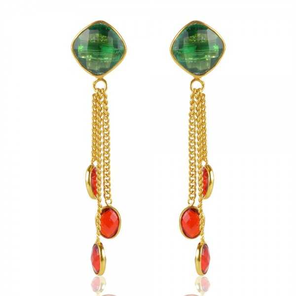 Green Stone And Red Stone Gold Plated Sterling Silver Tassel Earring