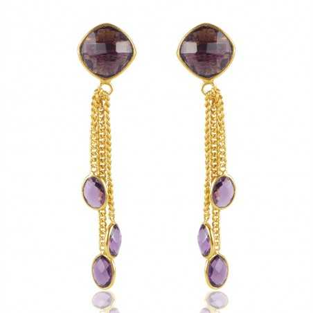 Gold Plated Amethyst Color Stone Sterling Silver Earring