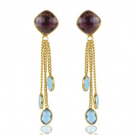 Amethyst And Sky Blue Topaz Colored Stone Gold Plated Silver Drop & Dangle Earring