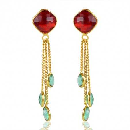 Colored Stone Gold Plated 925 Silver Tassel Earring
