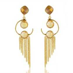 Citrine Color Stone Gold Plated Silver Earring