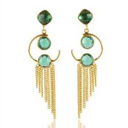 Green Stone Gold Plated Silver Earring