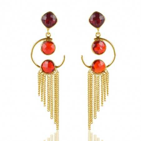 Sterling Silver Red Stone Gold Plated Earring