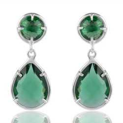 Green Stone Earring with Sterling Silver