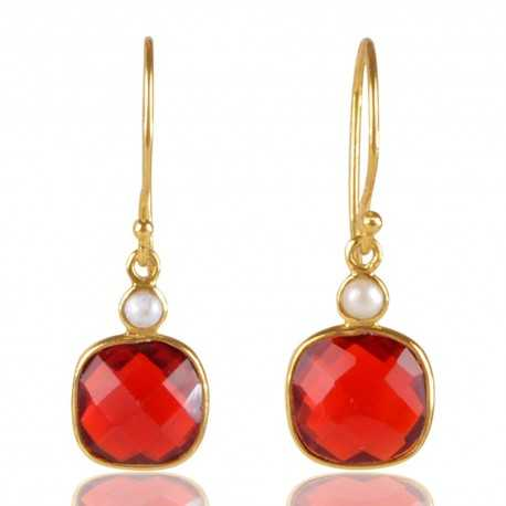 Pearl And Red Stone 925 Sterling Silver Gold Plated Earring