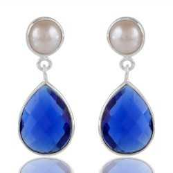 Galaxy Blue Stone And White Pearl Sterling Silver Earring