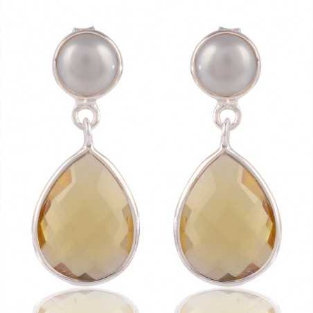 Pearl And Yellow Stone Sterling Silver Drop & Dangle Earring