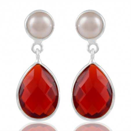 Sparkly Pearl And Red Stone Sterling Silver Earring