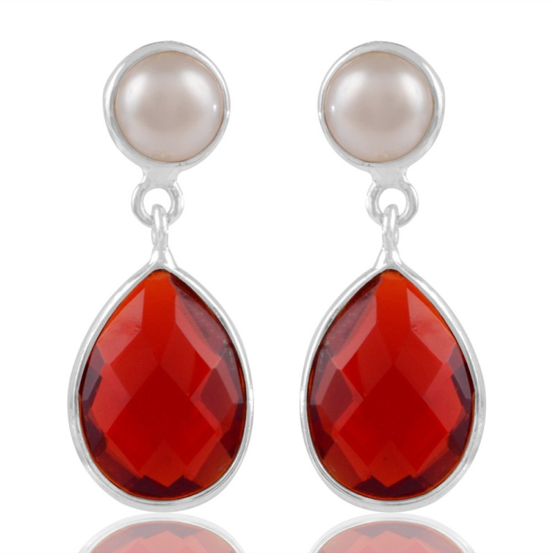 Sparkly Pearl And Red Stone Sterling Silver Earring Loading Zoom