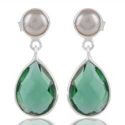 White Pearl And Green Stone Earring In Sterling Silver