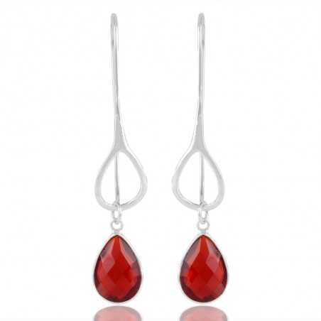 Fashion World Red Stone Sterling Silver Drop Earring