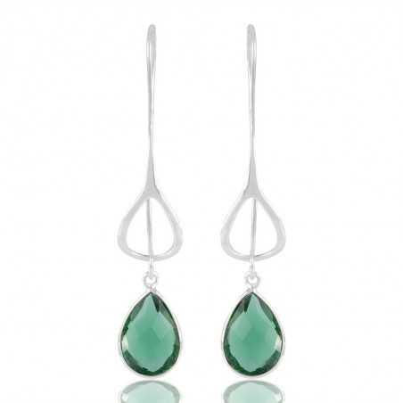 Graceful 925 Sterling Silver Green Stone Dangle Drop Infinity Earring