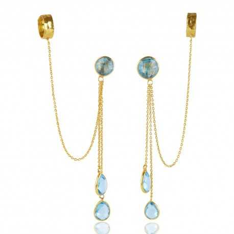 Delicate Sky Blue Topaz Color Stone Gold Plated Sterling Silver Lariat Earring