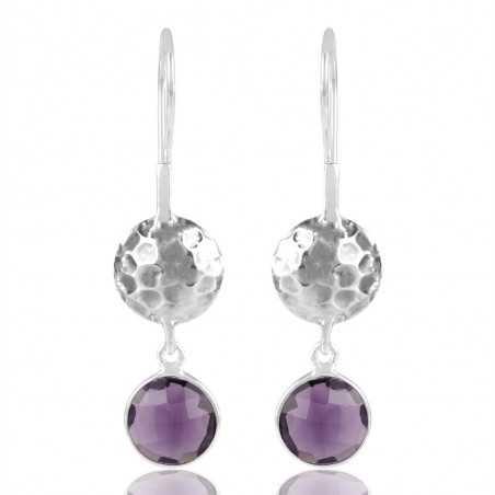 Purple Quartz 925 Solid Silver Dangle Earring