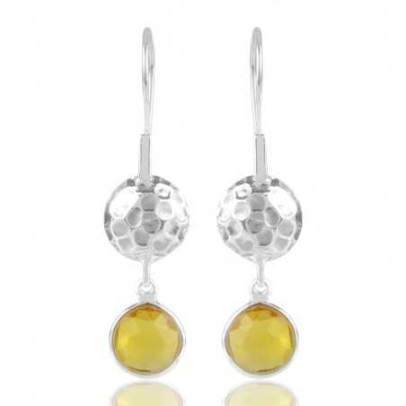 Yellow Quartz Hammered Design Solid Silver Dangle Earring