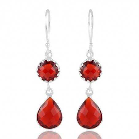 Delicate Red Stone Sterling Silver Earring