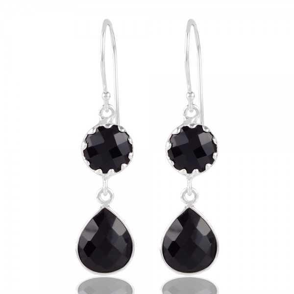 Black Stone Sterling Silver Bezel Earring