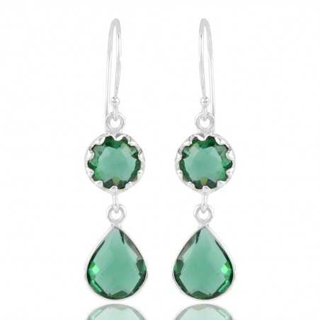 Sterling Silver Green Stone Dangle Earrings