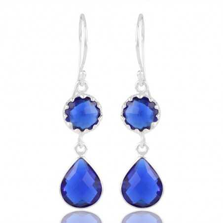 Awesome Blue Stone Solid Silver Drop & Dangle Earrings